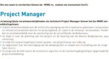 VACATURE PROJECT MANAGER